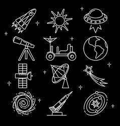 Space icons set in thin line style vector