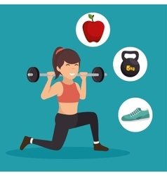 Sporting girl lunge squat weight barbell icons vector