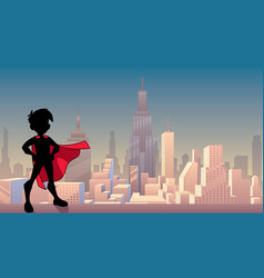 super boy city silhouette vector image