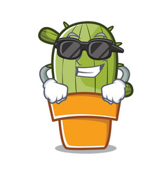 super cool cute cactus character cartoon vector image