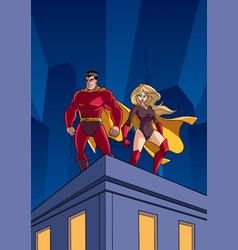 Superhero couple roof watch vector