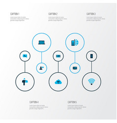 telecommunication icons colored set with article vector image