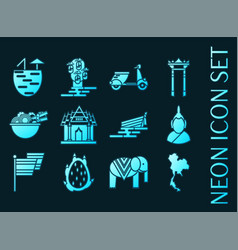 Thailand set icons blue glowing neon style vector