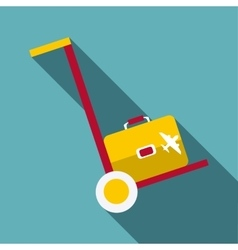 Truck with luggage icon flat style vector