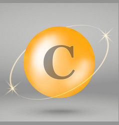 vitamin gold icon drop pill capsule vector image