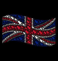 Waving great britain flag pattern of pin items vector