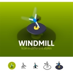 Windmill icon in different style vector