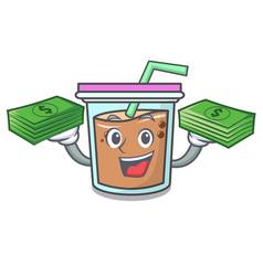 With money bag bubble tea mascot cartoon vector