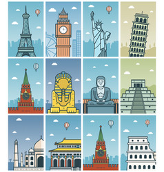 world landmarks collection travel and tourism vector image