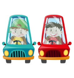 boys in blue and red cars vector image