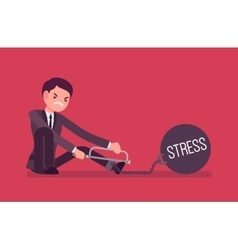 Businessman chained with a metall weight Stress vector image vector image