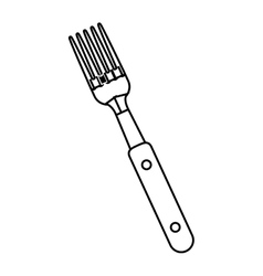 silhouette black with fork bbq vector image