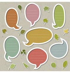 Speech bubbles set with leaves vector image vector image