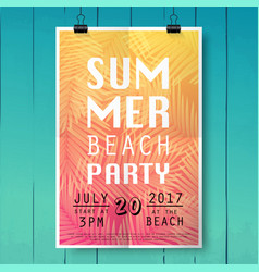 summer party poster with palm leaf and lettering vector image vector image