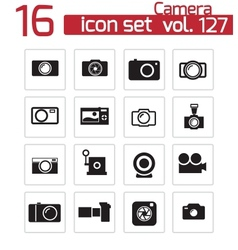 black camera icons set vector image vector image