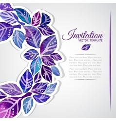 Elegant invitation template with watercolor wreath vector image vector image