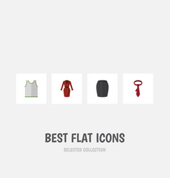 Flat icon dress set of stylish apparel singlet vector