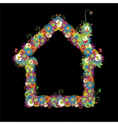 floral house shape vector image