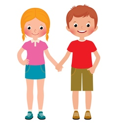 Friends of boy and girl isolated on white vector image vector image