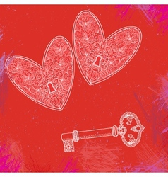 two locked hearts and one key vector image