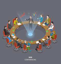 Web conferencing flat isometric low poly concept vector