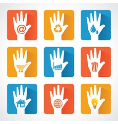 Different icons and design with helping hand vector