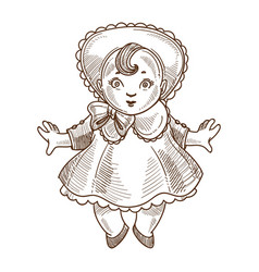 doll retro toy sketch hand drawn isolated vector image vector image
