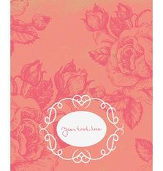 Floral background with vintage frame vector image vector image