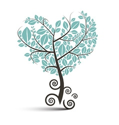 Heart Shaped Tree with Curled Roots Isolated vector image vector image