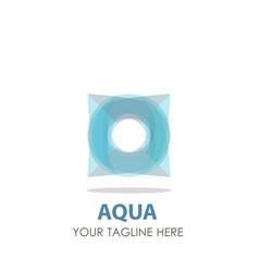 logo aqua water drop design icon wave symbol vector image