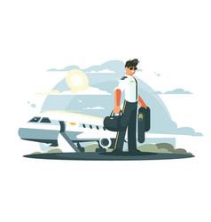 profession pilot of aircraft vector image