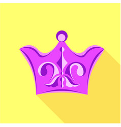 Purple crown with lily flower icon flat style vector