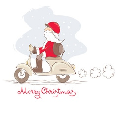 Santa on a scooter vector image vector image