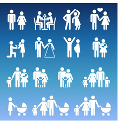 young family life pictograms - white parents and vector image vector image
