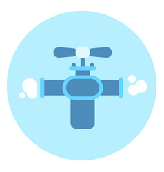 gas tap on pipe icon faucet on blue background vector image