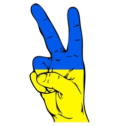 Peace Sign of the Ukrainian flag vector image