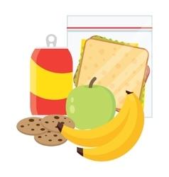 school lunch apple banana sandwich and cookies vector image vector image
