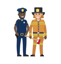 set of black policeman and firefighter with ax vector image vector image