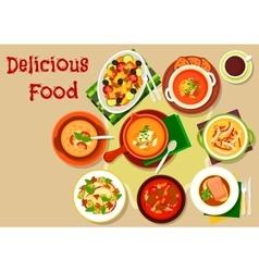 Soup salad dishes icon for restaurant menu design vector image