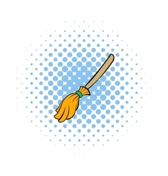 Witches broom icon comics style vector image