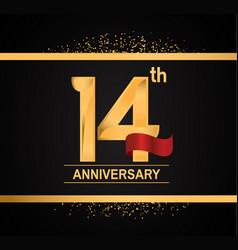 14 years anniversary logotype with premium gold vector