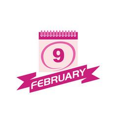 9 february calendar with ribbon vector