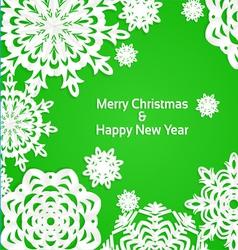 Applique snowflake Christmas green banner vector image