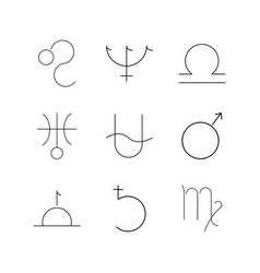 Astrology linear icon set simple outline icons vector