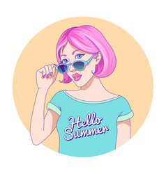 beautiful girl sunglasses vector image