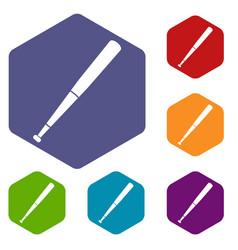 black baseball bat icons set hexagon vector image
