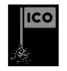 bright dispersed dot halftone ico rectangle flag vector image