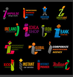 Business corporate identity trend color i icons vector