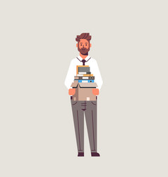 businessman office worker holding box with stuff vector image