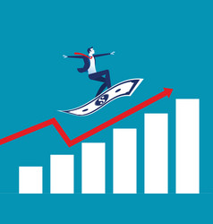 businessman on flying money with graph up concept vector image